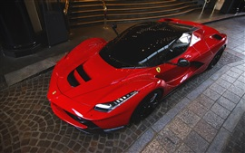 Preview wallpaper Ferrari LaFerrari red supercar top view, night