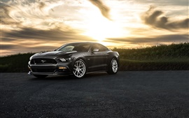 Preview wallpaper Ford Mustang 2015, black car, dusk