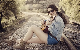 Preview wallpaper Girl, guitar, railway, music, glasses