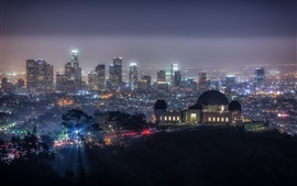 Griffith Park, California, EE.UU., noche, luces