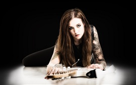 Preview wallpaper Guitar, music, girl, black background