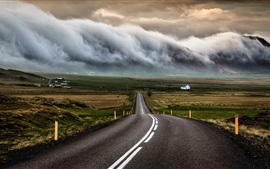 Iceland, road, houses, clouds