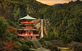 Japan landscape, temple, mountain, trees, waterfall