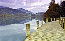Preview wallpaper Lake, bridge, trees, mountains, morning