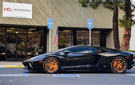 Preview wallpaper Lamborghini Aventador LP700-4 black supercar side view, road