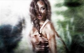 Lara Croft, Tomb Raider, look, rain