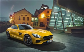 Preview wallpaper Mercedes-Benz AMG GT 2015 yellow supercar
