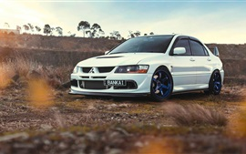 Preview wallpaper Mitsubishi Lancer Evolution 9 white car
