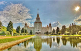 Preview wallpaper Moscow University, summer, water, pond, grass, trees