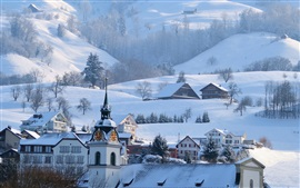 Preview wallpaper Mountains, Alps, winter, snow, town