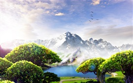 Preview wallpaper Mountains, trees, birds, clouds, lake, paradise