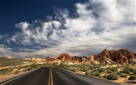 Preview wallpaper North Las Vegas, State Park, road, desert, clouds