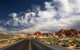 North Las Vegas, State Park, road, desert, clouds