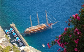 Oia, Santorini, Greece, Aegean Sea, yacht, boat, pier, sea