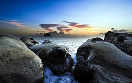 Preview wallpaper Sea, rocks, sky, dusk