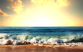 Mer, vagues, côte, ciel, soleil