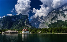 Preview wallpaper St Bartholomew's Church, Bavaria, Germany, Alps, lake