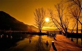 Por do sol, ponte, lago, árvores
