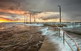 Sunset, sea, waves, dock