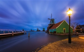 The Netherlands, village, houses, windmill, river, lights, night