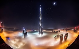 Preview wallpaper UAE, Dubai, Burj Khalifa, skyscrapers, night, fog, lights