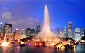 Preview wallpaper USA, Illinois, Chicago, city, night, lights, fountain