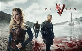 Preview wallpaper Vikings, TV series, fjord, blood