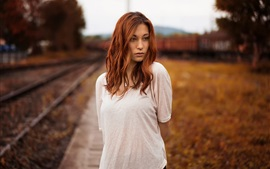 White dress girl, railway