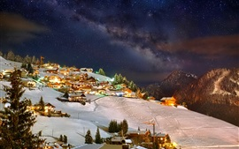 Winter, mountains, sky, night, stars, houses, lights