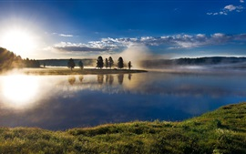 Preview wallpaper Yellowstone National Park, USA, sky, clouds, trees, river, fog, sunrise