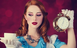 Preview wallpaper Alice in Wonderland, red lips, blue dress