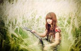 Asian girl, guitar, music, grass