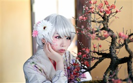 Preview wallpaper Asian girl, white hair