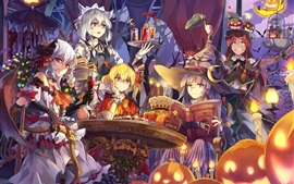 Preview wallpaper Beautiful anime girls, halloween