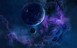 Beautiful space, planet, blue style, stars