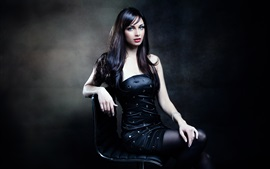 Preview wallpaper Black hair girl, posture, sitting on chair