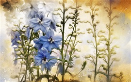 Blue white flowers, texture