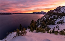 Preview wallpaper Crater lake, National Park, Oregon, sunrise, snow, winter, trees, mountains