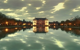 Preview wallpaper Dresden Park, Germany, dusk, lights, castle, lake, water reflection