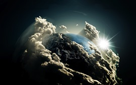 Preview wallpaper Earth, clouds, sun, universe