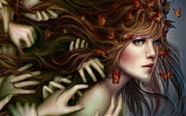 Preview wallpaper Fantasy blonde girl, hands, butterflies, hair