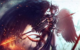 Preview wallpaper Fantasy warrior girl, armor, wings, sword