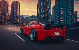 Ferrari 458 Italia red supercar, rear view, city, night