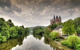 Preview wallpaper Germany, Limburg, cathedral, castle, Lena river, trees