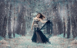 Preview wallpaper Girl in the forest, cold, winter