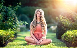 Preview wallpaper Girl portrait, eyes, hair, summer, sunlight, grass