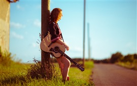 Preview wallpaper Girl, road, guitar