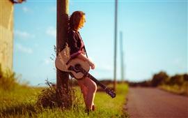 Aperçu fond d'écran Fille, route, guitare