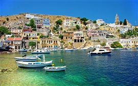 Preview wallpaper Greece, sea, coast, boats, houses