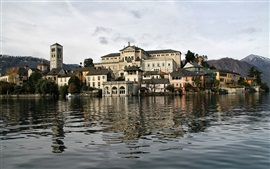 Preview wallpaper Italy, San Giulio island, trees, houses, water